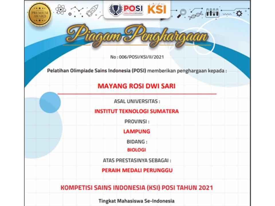 Mahasiswa Biologi ITERA Borong Medali Olimpiade Sains Mahasiswa Nasional